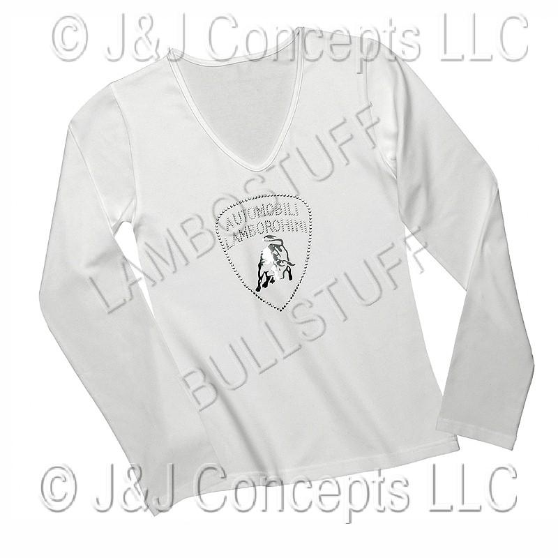 Lamborghini White Long Sleeve Womans Shirt With Rhinestone Shield Logo Cotton Ebay